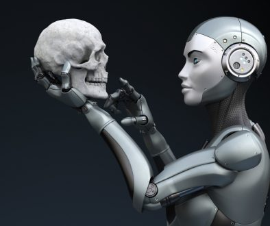 Robot with human skull in his hand. 3D illustration